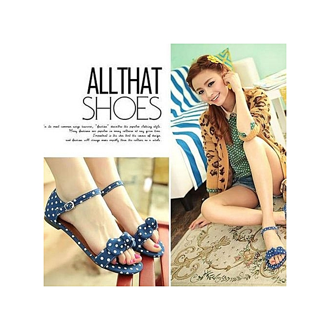 Fashion Blicool Shop femmes Sandals Sweet Polka Dot Bow chaussures Gentlefemmes Brief Hasp Female Sandals BU - bleu à prix pas cher