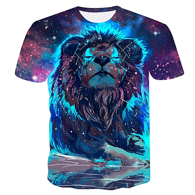 Other 2018 Pour des hommes drôle Shirt Lion 3D Printed T-Shirts Hip-hop manche courte Tees à prix pas cher