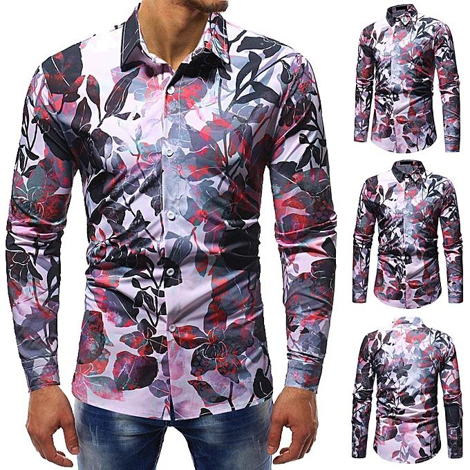 Fashion jiuhap store Mens Spring Winter Fashion Printed Casual Long Sleeve Slim Shirts Tops Blouse à prix pas cher