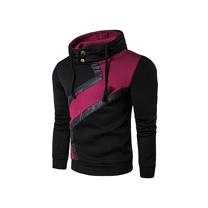 Cuena Men Long Sleeve Hoodie Sweatshirt Casual Slim hommes Hoodie Sportswear BK XL-noir à prix pas cher