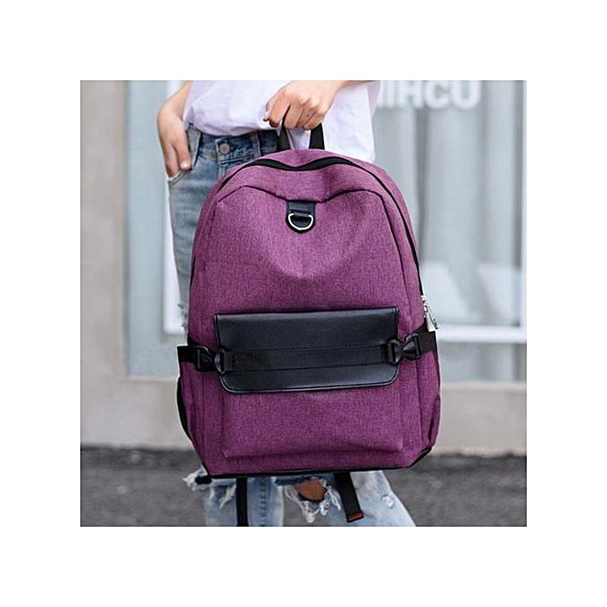 mode SingedanUnisex Rechargeable Handsac sac à dos School  voyage toile Shoulder sac Tote PP -violet à prix pas cher