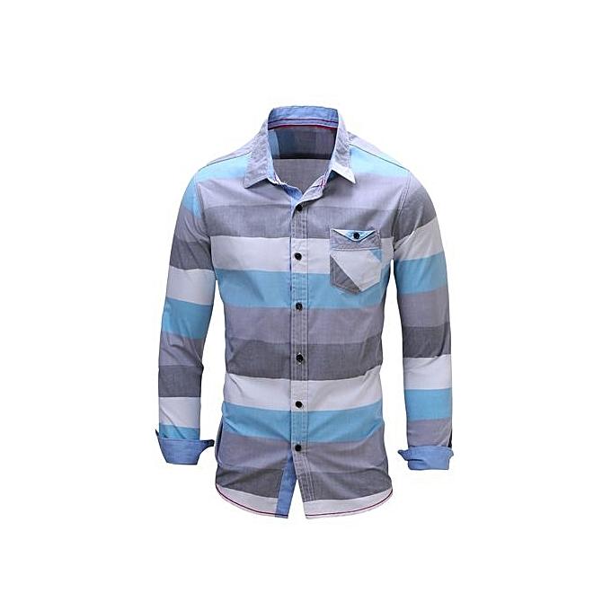 Fashion Casual Shirt Men Brand Clothing 2017 New Long Sleeve Slim Fit Solid Male Shirt Quality 100% Cotton bleu à prix pas cher