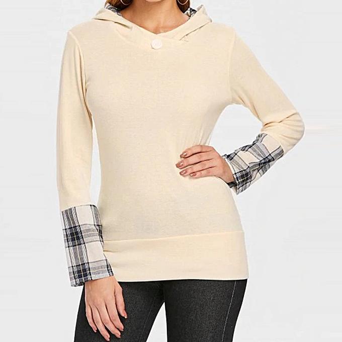 Fashion jiahsyc store femmes Round Neck Button Plaid Top Long Sleeve Solid Couleur Shirt-Beige à prix pas cher
