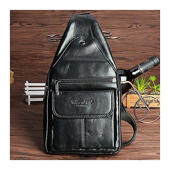 Other Men  Leather Sling Chest Day Pack Fashion Travel Cross Body Messenger Shoulder Bag(noir) à prix pas cher