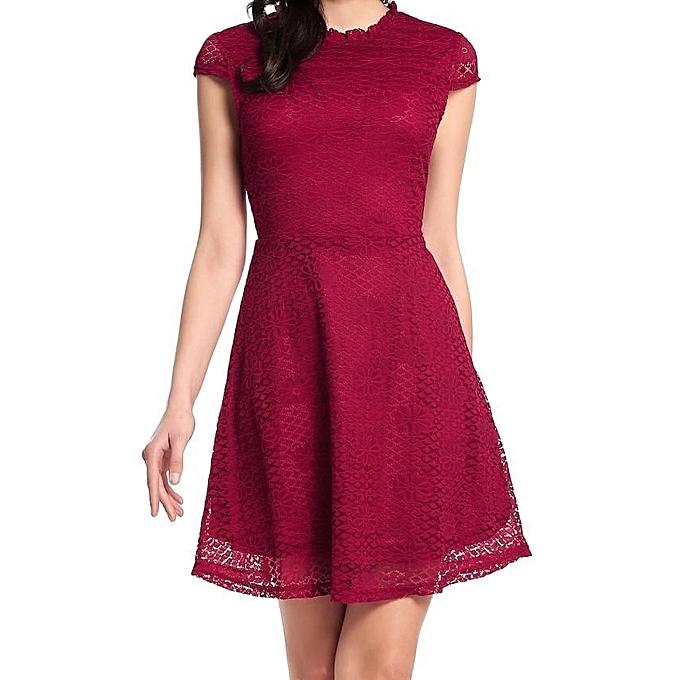Zeagoo femmes Cap Sleeve Hollow Floral Lace A-Line Mini Dress-Wine rouge à prix pas cher