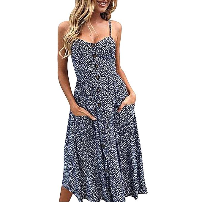 Fashion jiahsyc store femmes  Printing Buttons Off Shoulder Sleeveless Dress Princess Dress NY L-Navy à prix pas cher