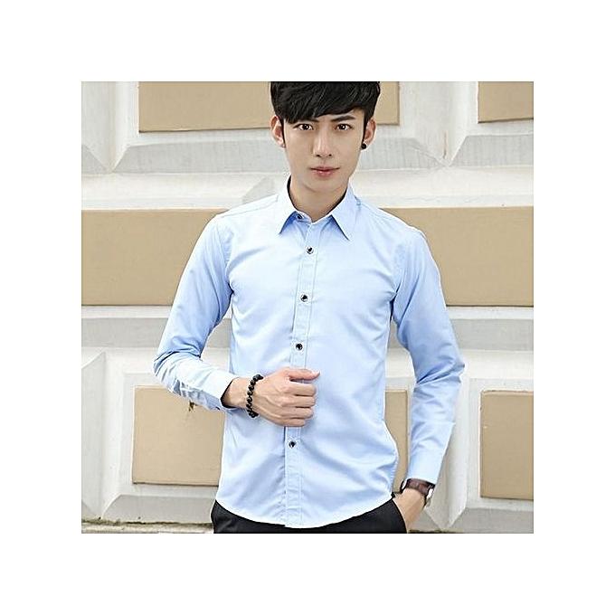 Generic Men's Plain Long Sleeve Business Shirt (bleu) à prix pas cher