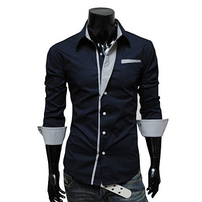 Other Stylish Stripes Decoration Stylish Men's Long Sleeves Shirt à prix pas cher