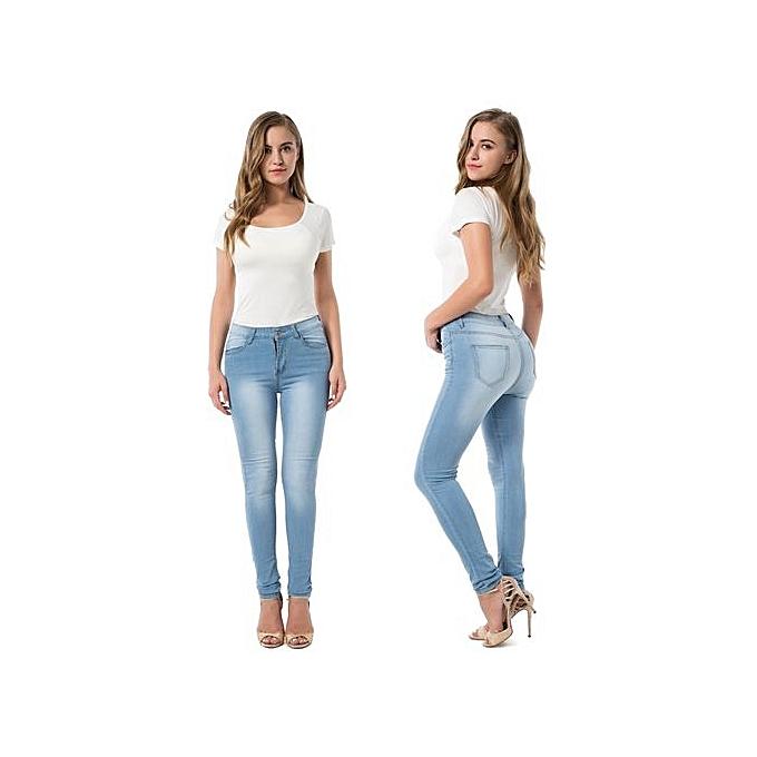 OEM High Elastic Denim Trousers Female Casual Pocket Skinny Pencil Jean Pants Jeans femmes Trousers-light bleu à prix pas cher