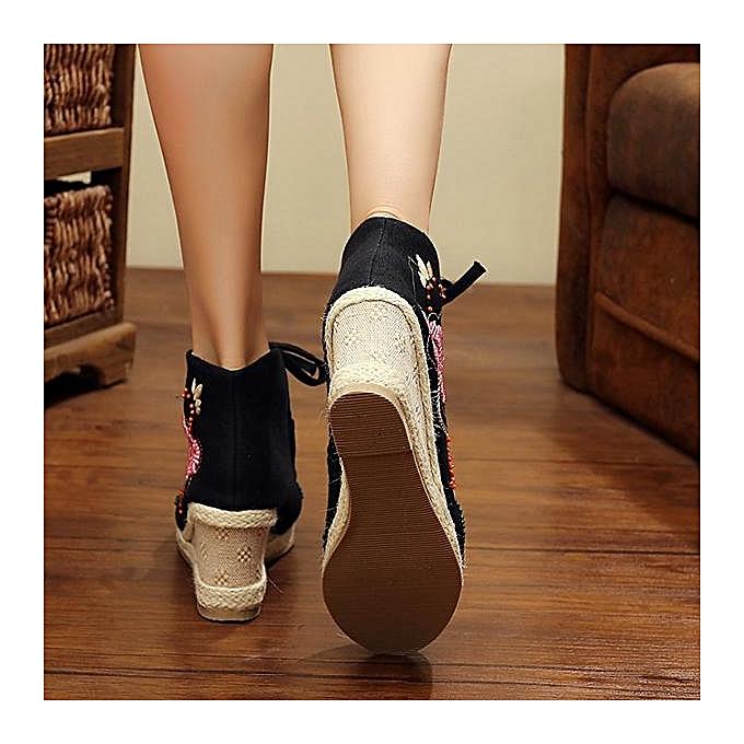 Fashion Fashion WoHommes  Embroidery Rhinestone Closed-Toe Wedge à Mid Heel Shoes-EU à Wedge prix pas cher  | Jumia Maroc cee563