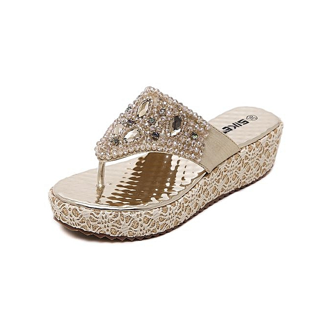 Fashion New femmes Sandals Rhinestone Wedge Sandals Large Taille Pinch chaussures à prix pas cher