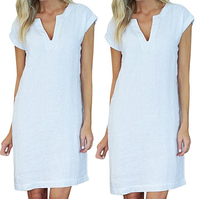 mode mode femmes& 039;s été  manche courte V-Neck Solid Easy Fitting Mini Robe à prix pas cher
