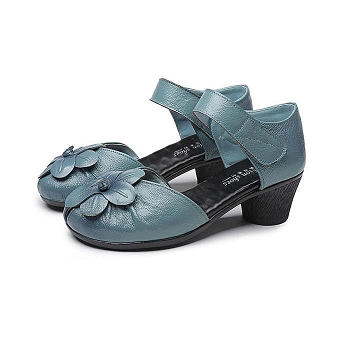 Fashion SOCOFY Fashion Flower Block Hoop Loop Soft Leather femmes Heeled Sandals-EU à prix pas cher