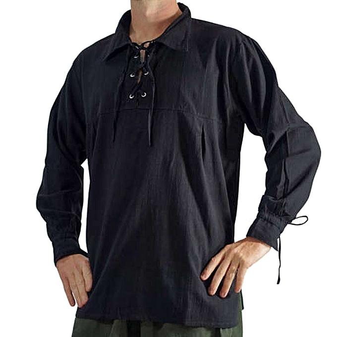 mode Hommes& 039;s Autumn Winter Vintage Décontracté Stbague manche longue T-shirt Top chemisier à prix pas cher