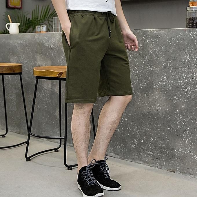 Fashion Summer New Men's Shorts Solid Cotton Slim Casual Men Shorts à prix pas cher