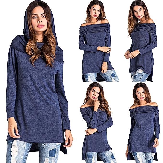 Fashion (Xiuxingzi) femmes Slash Neck Long Sleeves Pure Couleur  Caps Tops Loose Blouse Shirt à prix pas cher