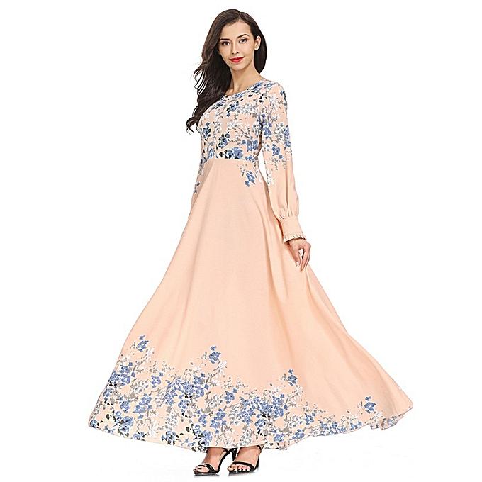 mode (Xiuxingzi) femmes High Waist Floral Muslim LongSleeve Arab Robe Islam Jilbab Robe à prix pas cher
