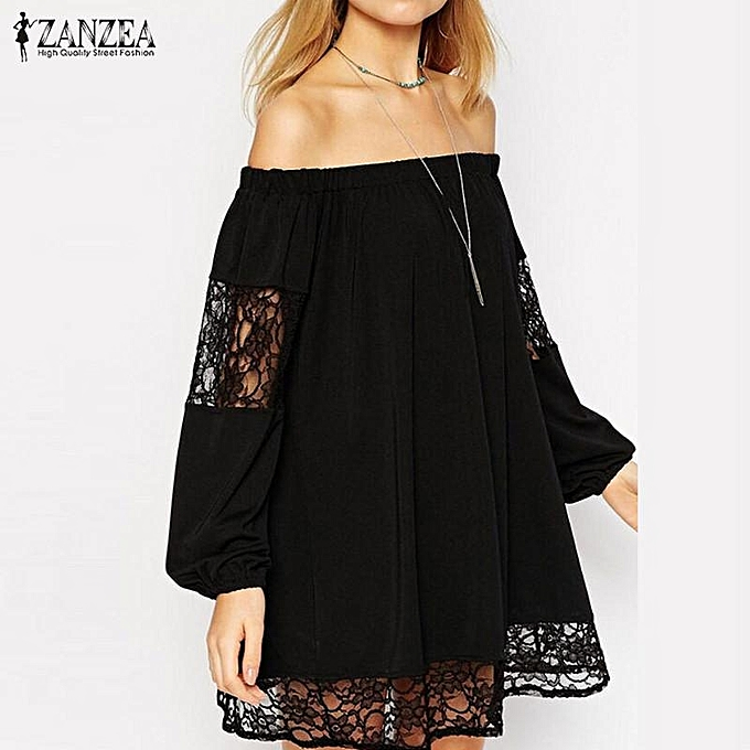 Zanzea Plus Taille S-5XL ZANZEA femmes Lace Crochet HolFaible Out Décontracté Loose hauts bleusas Slash Neck Off Shoulder (noir) à prix pas cher