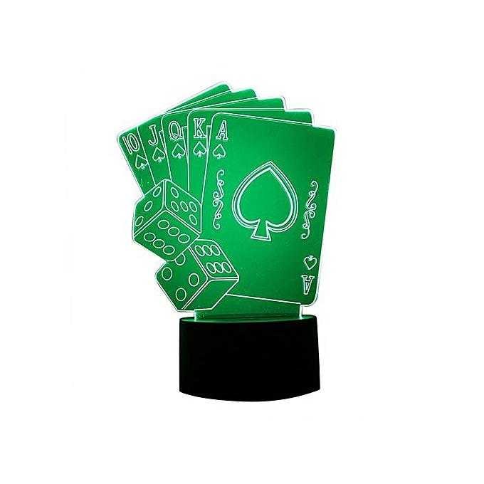 Generic Haojks- Poker Card 3D LED Night Light Lamps   3D Optical Illusion 7 Couleurs For Home à prix pas cher