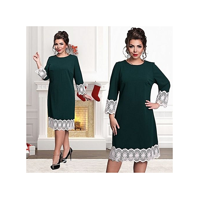 mode Plus Taille 6XL Elegant Party Lace Patchwork femmes Robe 2017 été grand Taille Loose Robe-vert à prix pas cher