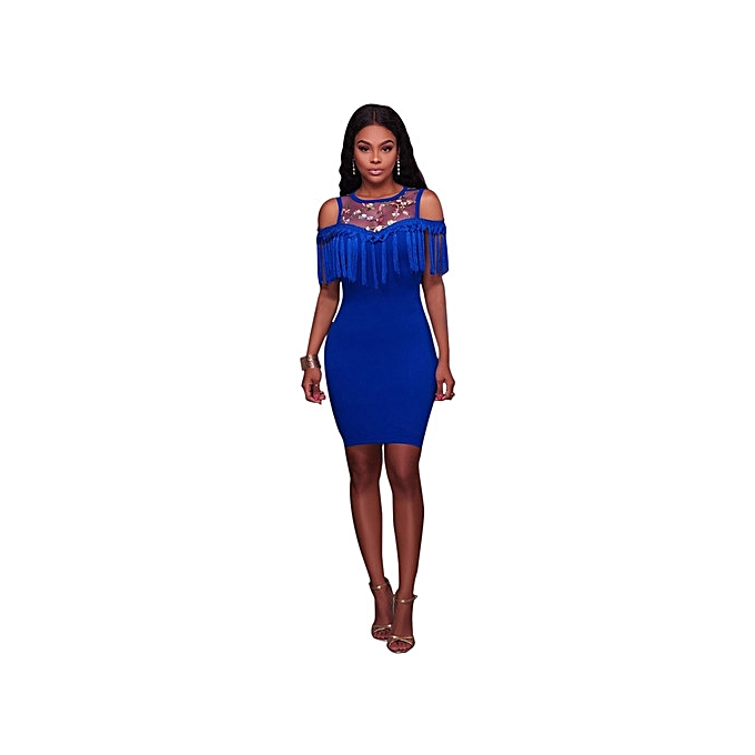 OEM New style Newest femmes Evening Party transparent Sleeveless lace up O-Neck Tassel Solid Couleur Slim Sexy Dress-bleu à prix pas cher