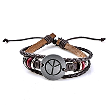 Retro Adjustable Leather Bracelet Peace Symbol Pattern Woven Bracelet for  Men Women 3fb1219fd5ef