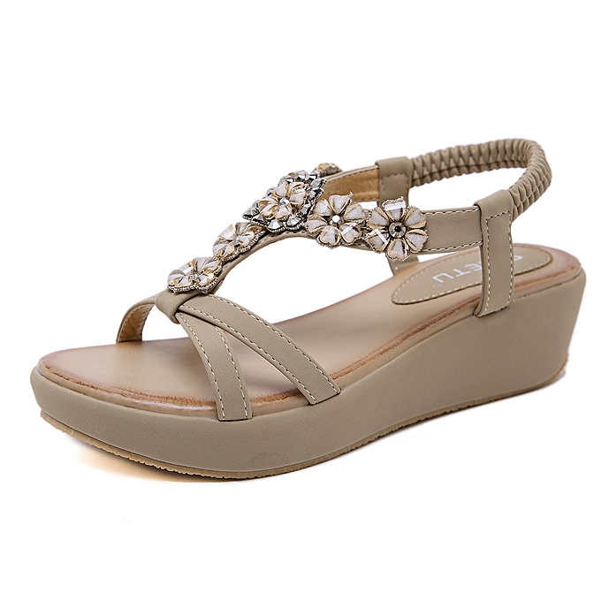Fashion Sandals female bohemian flower rhinestone large Taille wedge with comfortable sandals à prix pas cher