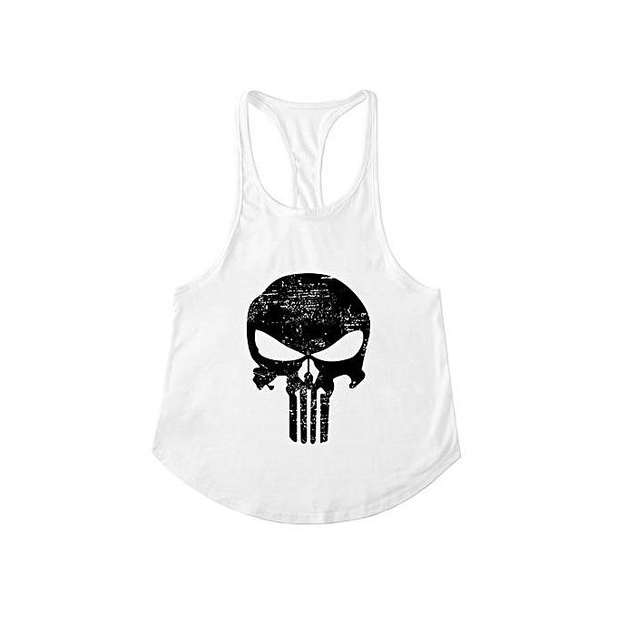 Other Hommes& 039;s Punisher& 039;s Skull Slim Shoulder Belt FonctionneHommest Sports Fitness vest-blanc à prix pas cher