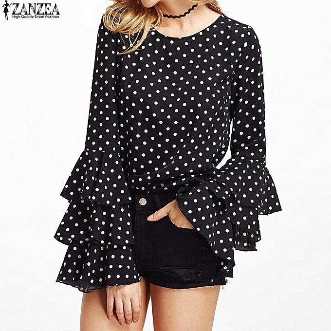 Zanzea ZANZEA femmes Flouncing Ruffled Long Sleeves Summer Autumn Polka Dot Butterfly Sleeve Loose Casual Tops Blouse Plus Taille noir à prix pas cher