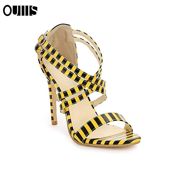 Fashion One word fish mouth stiletto high heel femmes chaussures jaune à prix pas cher    Jumia Maroc