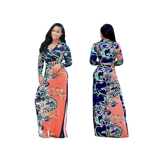 Fashion Large Taille L-5XL Deep V Long EveningBeach Floral Dress Sundress 2017 Vestidos Party Dresses-Orange01 à prix pas cher