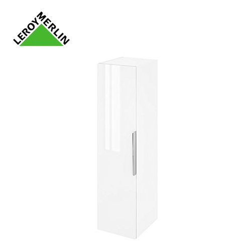 Meuble Salle De Bain Colonne L30 X H116 X P30 Cm Blanc à Suspendre Garantie 3 Ans