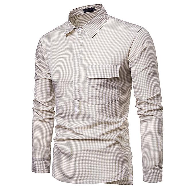 mode nouveau mode petit plaid body design gentlehomme dynamic Hommes& 039;s lapel long-sleeved shirt-Khaki à prix pas cher