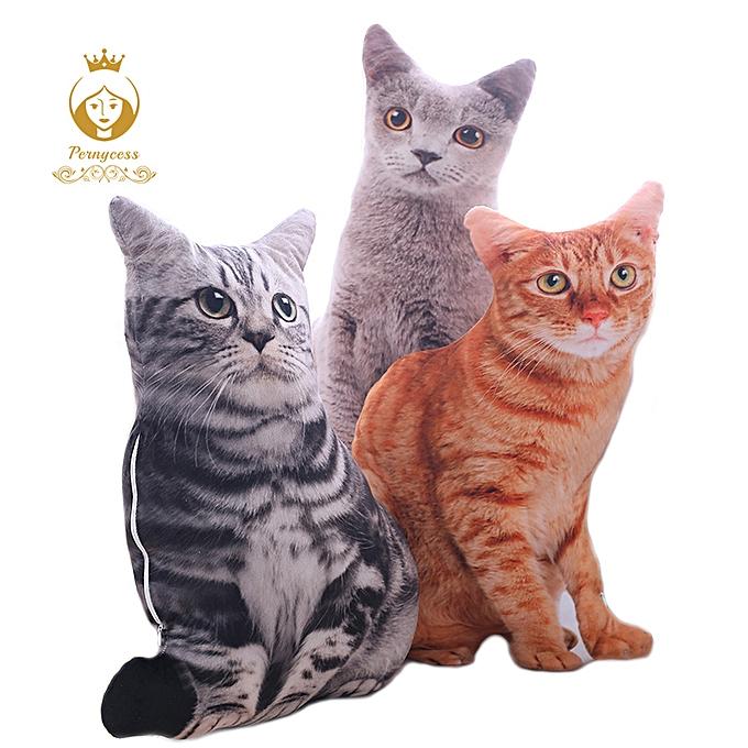 Autre 1PCS 50CM 3D Simulation Cats Pillow, Cute Cat Washable Plush Stuffed Pillow, Kids Toy, Sofa Pillow, Home Decoration(gris) à prix pas cher