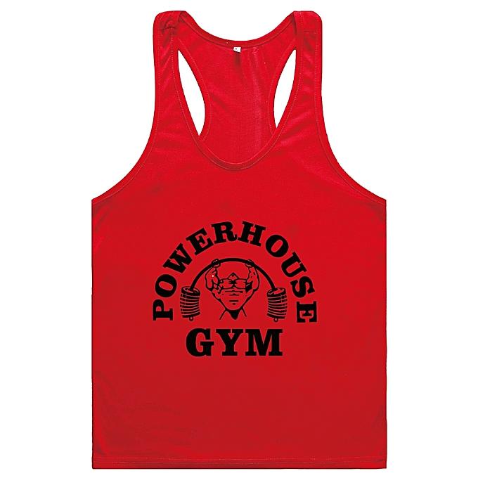 Other Men's Basic Fitness and Bodybuilding Training Cotton Printed Vest-rouge noir à prix pas cher