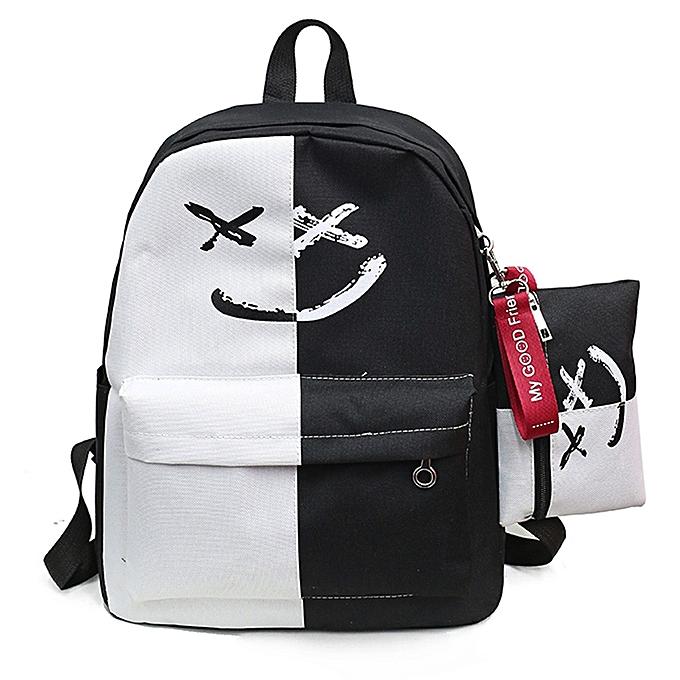Fashion blicool travel wallet 2Pcs femmes Girls Smile Shoulder Bookwallets School Travel Backpack+Small wallet-blanc à prix pas cher