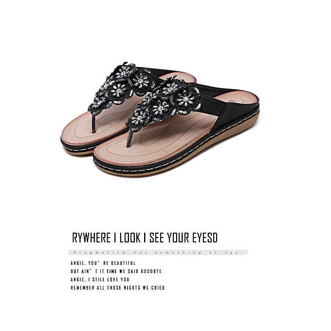 Fashion Ethnic female sandals bohemian rhinestones large Taille comfortable flat chaussures beach chaussures à prix pas cher