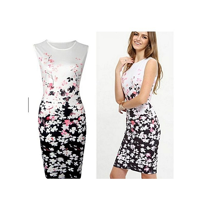 Fashion Large Taille femmes Dresses Sheath Knee-Kength Sleeveless Cocktail Hip Printed Dress for femmes-blanc à prix pas cher