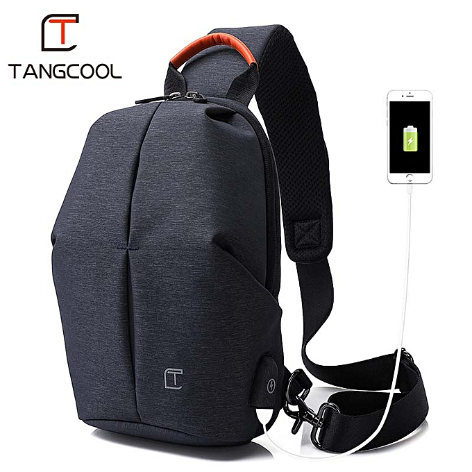 Other Tangcool Fashion Men Messenger Bag Men USB Charging Design Man Chest Bag Pack Anti Theft Shoulder Crossbody bags for Teenage(bleu) à prix pas cher
