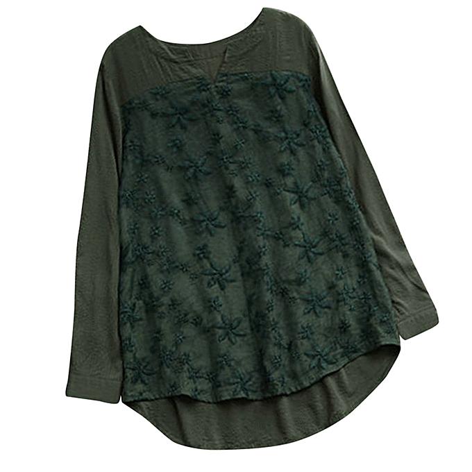Fashion femmes Floral Lace Embroidery V-Neck Long Sleeve Loose Baggy Tops Shirt Blouse à prix pas cher