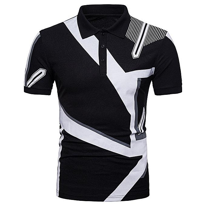 Other Men Summer Leisure Printed V Collar Short Sleeve Polo Shirt à prix pas cher