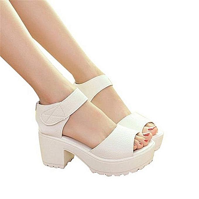 Fashion Open Toe Peep Toe Platform High Heel Gladiator Sandals Chunky-blanc à prix pas cher