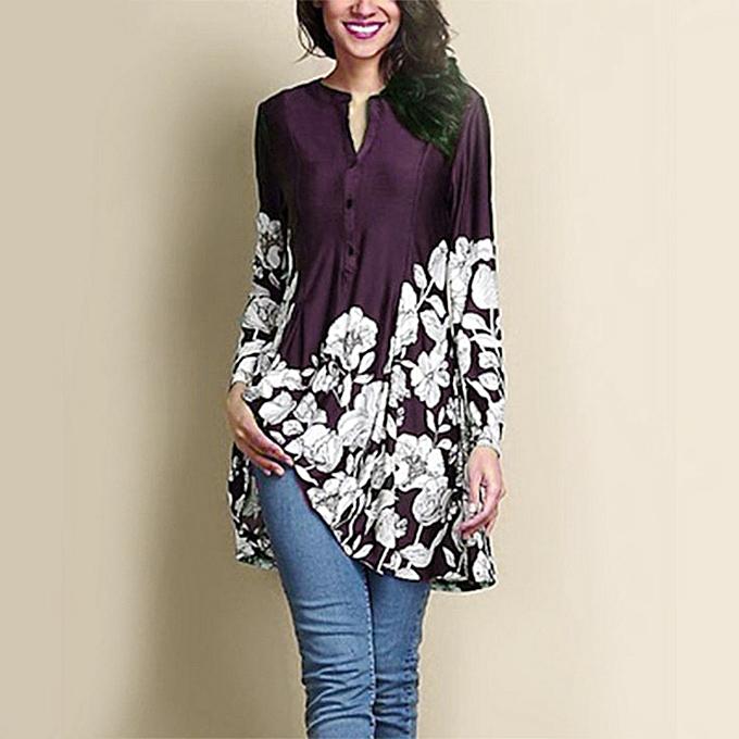 Fashion femmes Plus Taille Floral Print V-Neck Fashion Long Sleeve Button Long Shirt à prix pas cher
