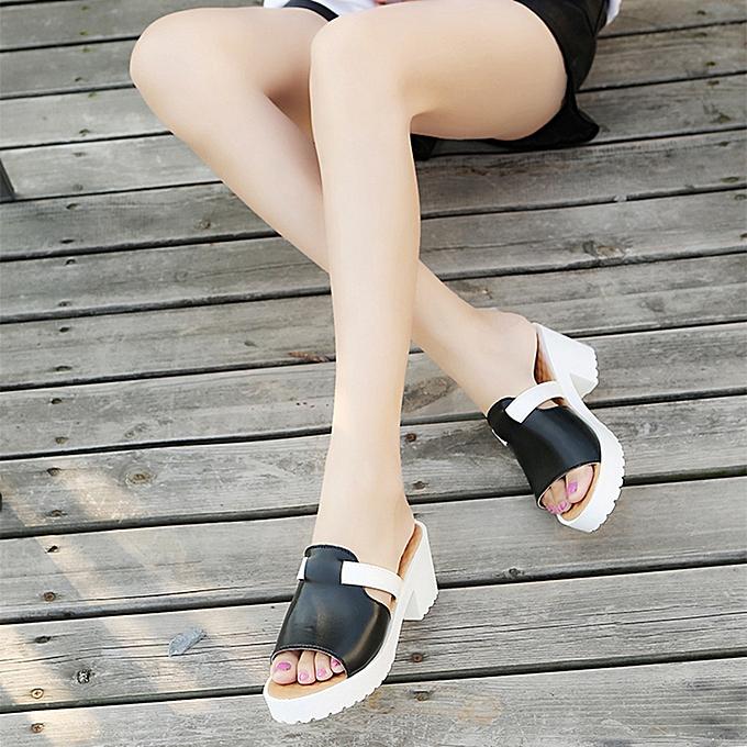 mode Hiamok Wohommes mode Décontracté Slip On Square Heel Thick Platform chaussures de plein air Slippers à prix pas cher
