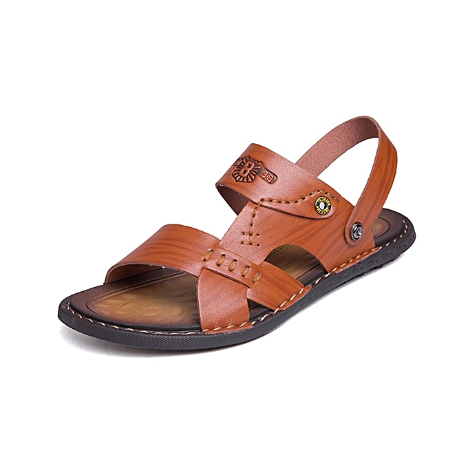 28d9de571e Men Casual Breathable Two Way Wear Microfiber Leather Sandals Summer Shoes