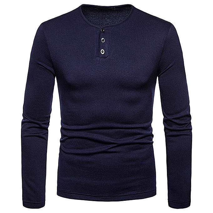 mode Hommes& 039;s Autumn Winter Décontracté Brushed V-Neck manche longue Base Shirt Top chemisier -Navy à prix pas cher