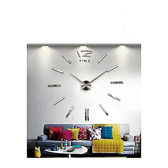 horloge murale 3d design argent clair achat horloges murales jumia maroc. Black Bedroom Furniture Sets. Home Design Ideas