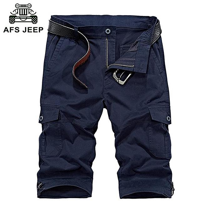 GENERAL Men's Fashion Summer Cotton Knee Length Multiple Pocket Quality Beach Shorts à prix pas cher