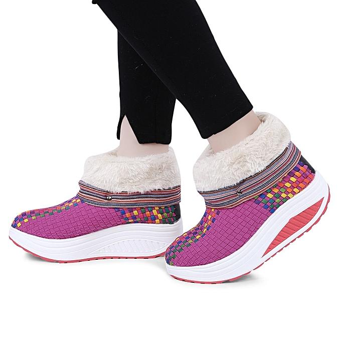 Fashion Casual Color Color Casual Block Knitting Warm   Platform Snow Boots à prix pas cher    Jumia Maroc 542c9c