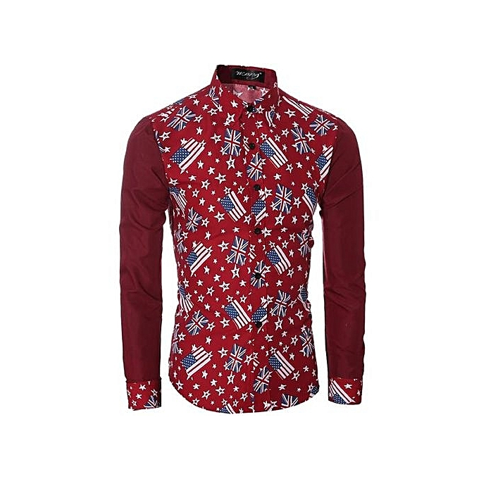 Neworldline FFashion Mens Casual Shirts Long Sleeve Slim Fit Printing Tops T-shirt RD XL- rouge XL. à prix pas cher